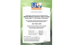 WIDOS certificado ISO 14001