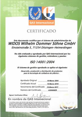 Máquinas soldadoras de plástico WIDOS certificado ISO 14001