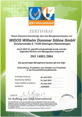 WIDOS Kunststoffschweißmaschinen ISO Zertifikat 14001