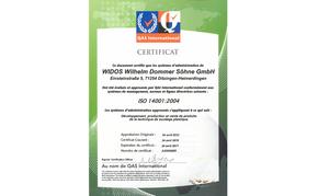 WIDOS certificat d'ISO 14001
