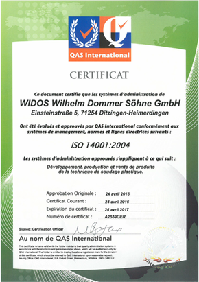 Machines de soudage plastique WIDOS certificat d'ISO 14001
