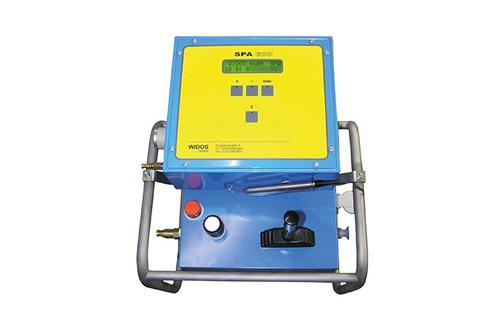 Máquina soldadora de plástico obra grabación del registro de soldadura