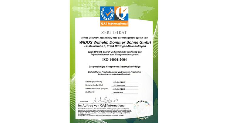 WIDOS Kunststoffschweißmaschinen ISO-Zertifizierung 14001