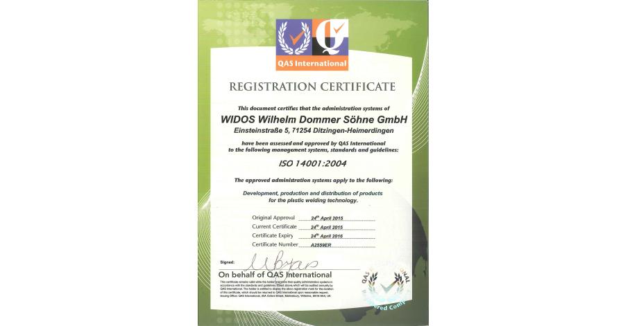 WIDOS plastic welding machines ISO certificate 14001
